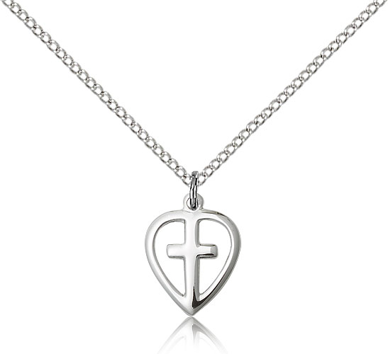 "SilverTenet Women's Sterling Silver Heart / Cross Pendant Necklace - Medal Size:1/2 x 3/8  - Curb Chain 18"" - 30 Day Money Back Guarantee at Sears.com"