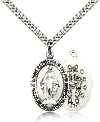 """SilverTenet Sterling Silver Miraculous Pendant Necklace Necklace Unisex - Medal Size:1 x 5/8  - Curb Chain 24"""" - 30 Day Money Back Guarantee at Sears.com"""