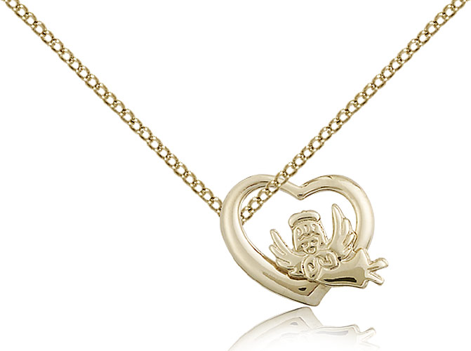 """SilverTenet Women's Gold Filled Heart / Guardian Angel Pendant Necklace - Medal Size:1/2 x 5/8  - Curb Chain 18"""" - 30 Day Money Back Guarant at Sears.com"""