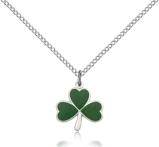 SilverTenet Women's Sterling Silver Shamrock Pendant Necklace - Medal Size:1/2 x 1/2 - Curb Chain 18