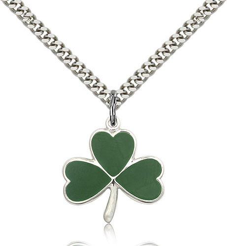 SilverTenet Men's Sterling Silver Shamrock Pendant Necklace - Medal Size:3/4 x 3/4 - Curb Chain 24